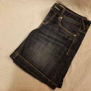 Maurices Distressed Denim Midi Shorts Size 7/8